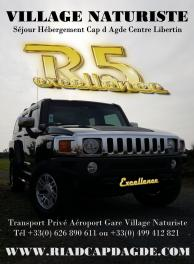 Hummer h3 transport prive aeroport gare village naturiste